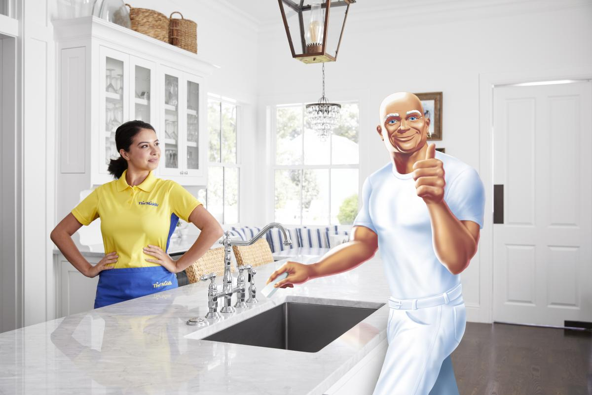 Maid and Mr Clean in the kitchen